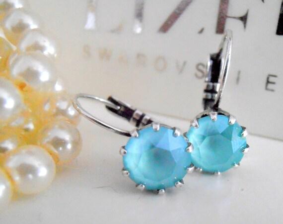 Mint Green Swarovski Drop Earrings / Antique Silver Jewelry