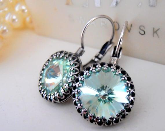 Chrysolite Swarovski Dangle Earrings / Leverback Green Crystal Rivoli Earrings