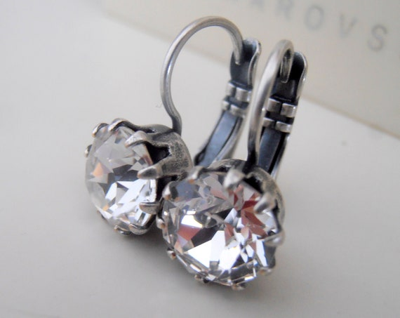 Diamond Clear Lever back Earrings w/ Swarovski Crystal Chatons
