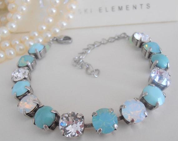 Mint Swarovski Crystal Bracelet / Pacific Opal Chatons / Tennis Bracelet / Cupchain / Antique silver / Fashion Accessories