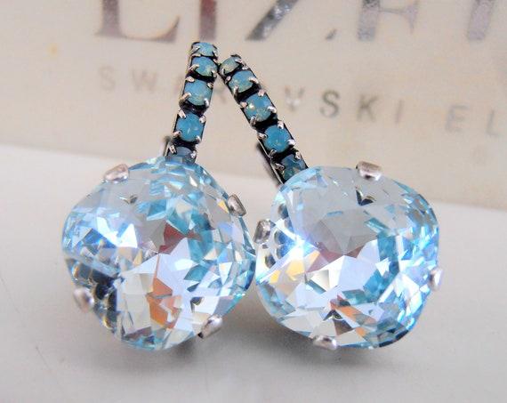 Light Azore Cushion Cut Swarovski Drop Earrings 4470 / Wedding Jewelry / Birthday Gift