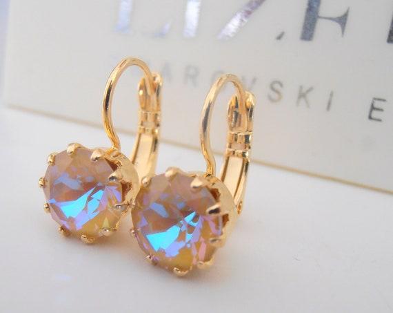 Crystal Ochre DeLite Crown Earrings w/ Swarovski / Gold Jewelry