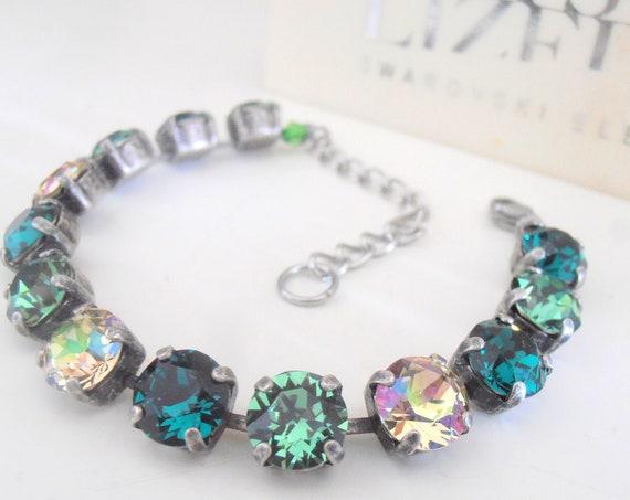 St patrick's day Tennis Bracelet w/ Swarovski Multicolor Crystals