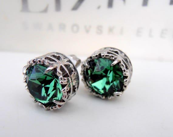 Erinite Swarovski Stud Earrings • Art Deco Pine Green Pierced Post Earrings