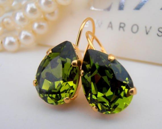 Olivine Teadrop Crystal Earrings / Swarovski Earrings / Green Dangle Pear Earrings