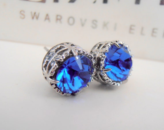 Sapphire Stud Earring w/ Swarovski Crystals / Art Deco Pierced Bridesmaid Jewelry