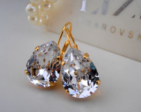 Crystal Diamond Teadrop Earrings / Swarovski Earrings / Dangle Wedding Jewelry