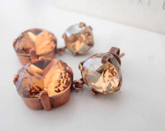 Brown Smoked Topaz Cushion Cut Swarovski Earrings / Antique Copper Jewelry /