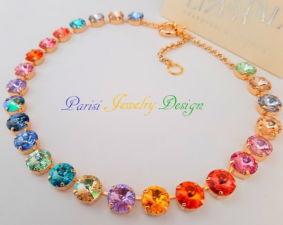 Rainbow Swarovski® Necklace Handmade / Anna Wintour Crystal Choker
