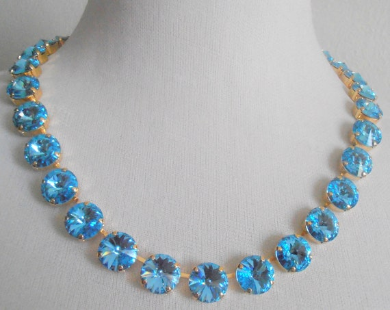 Aquamarine Swarovski Necklace / Crystal Cupchain Rivoli Choker / Wedding Jewelry /