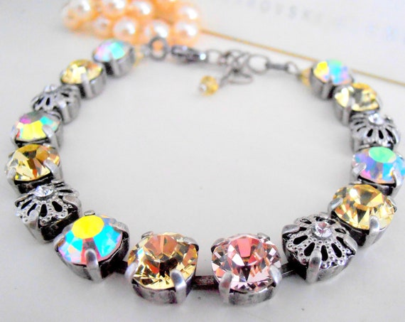 Jonquil Multicolors Tennis Bracelet w/ Swarovski Crystals / Antique Cupchain Jewelry