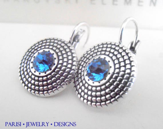 Sapphire Antique Silver Disc Earrings with Swarovski Crystals