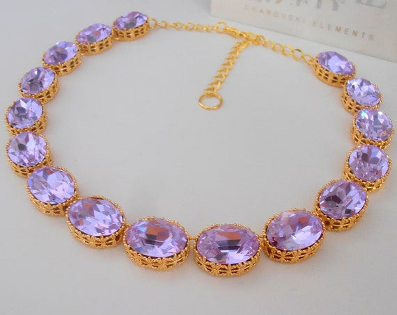 Lilac Gold Choker Necklace w/ Swarovski /  Anna Wintour Riviere Collet