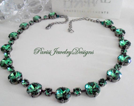 Anna Wintour Emerald Cushion Cut Swarovski Crystal Necklace 4470 / Statement Choker