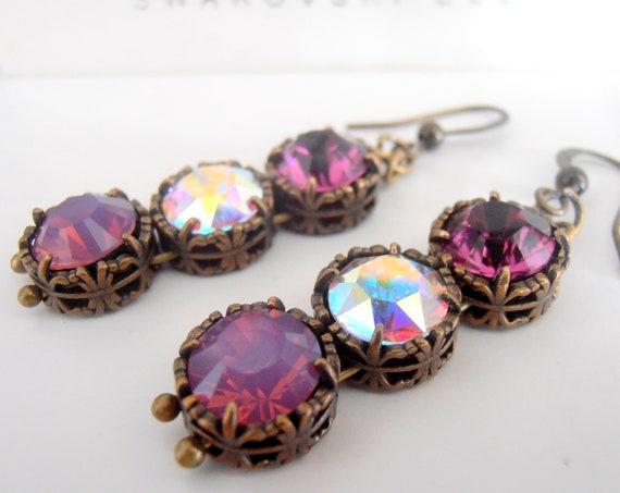 Amethyst Art Deco Drop Earrings with Swarovski Crystals / Art Nouveau Bronze Jewelry