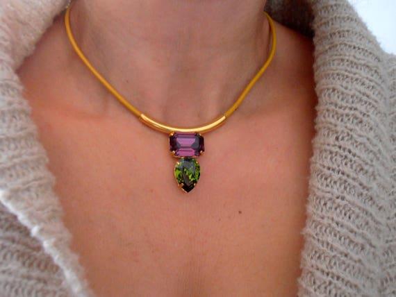 Yellow Leather Cord Tube Necklace w/ Swarovski Crystals / Bohemian Gold Choker / Boho Jewelry
