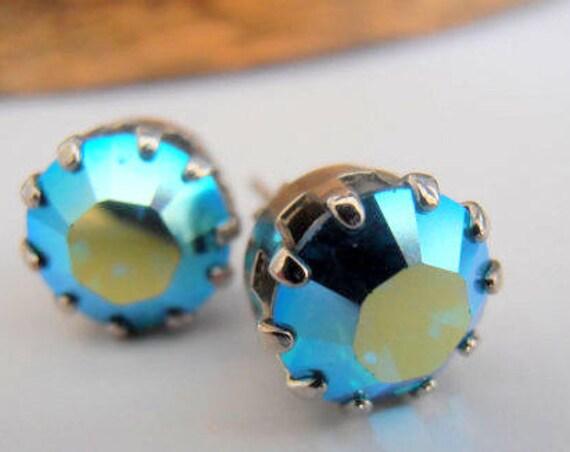 Aquamarine AB Crystal Stud Earrings • Swarovski Post Earrings • Crown Prom Earrings • Christmas Gift