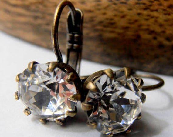 Diamond Clear Swarovski Dangle & Drop Earrings / Bronze Jewelry / Birthday Gift