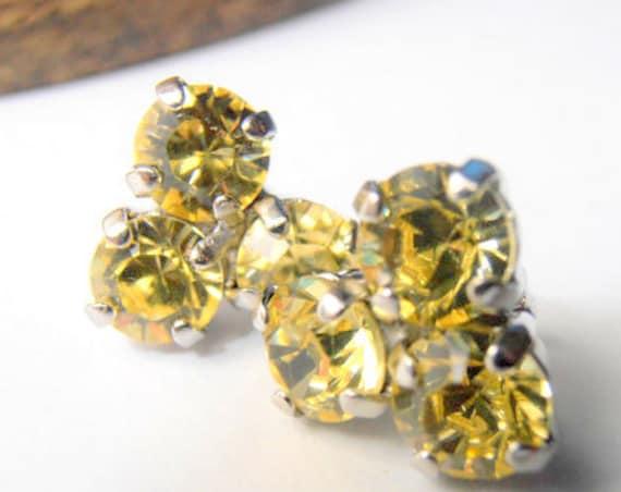 Flower Swarovski Stud Earrings / Dainty Post Pierced Earrings / Jonquil Yellow Cluster earrings / Gift for her / Birthday Present