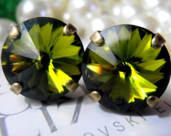 Olivine Swarovski Stud Earrings • Rivoli Pierced Post Earrings in Antique Bronze