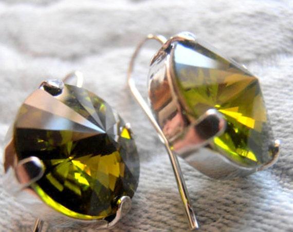 Olivine Swarovski Earrings / 12mm Rivoli Dangle Drop Earrings / Hook Silver Earrings /  Crystal Khaki Green / Vintage Jewelry / Gift For Her