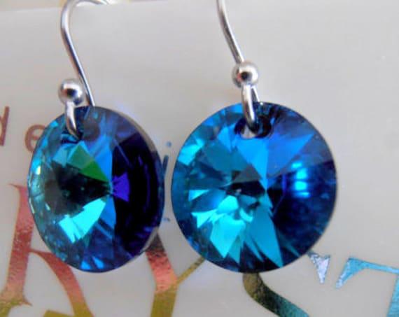 Heliotrope Swarovski Earrings / Hook Drop Rivoli Earrings / Blue Crystal Dangle Earrings / 12mm Valentine Gift / Silver  Dangle Earrings