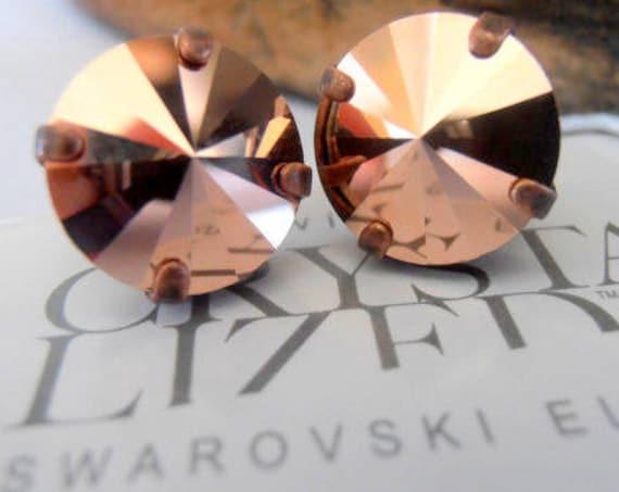 Rose Gold Copper Stud Earrings / Swarovski Rivoli Crystal Earrings /Pierced Post Earring