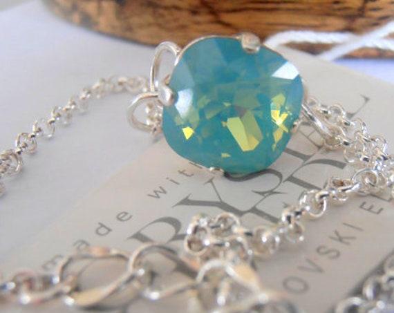 Pacific Opal Foot Chain Anklet W/ Swarovski Crystal / Dainty Beach Jewelry / Sandal Bracelet