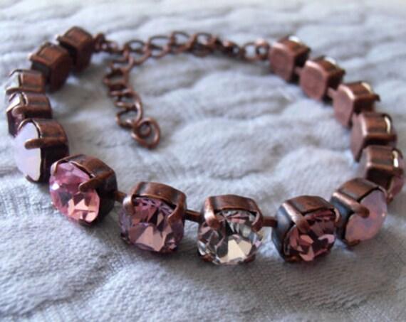 Rose Multicolors Crystal Bracelet w/ Swarovski / Antique Jewelry