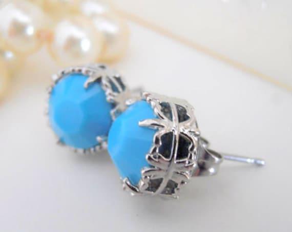 Turquoise Stud Earrings w/ Swarovski Crystals • Dainty Post Pierced Summer Blue Earrings