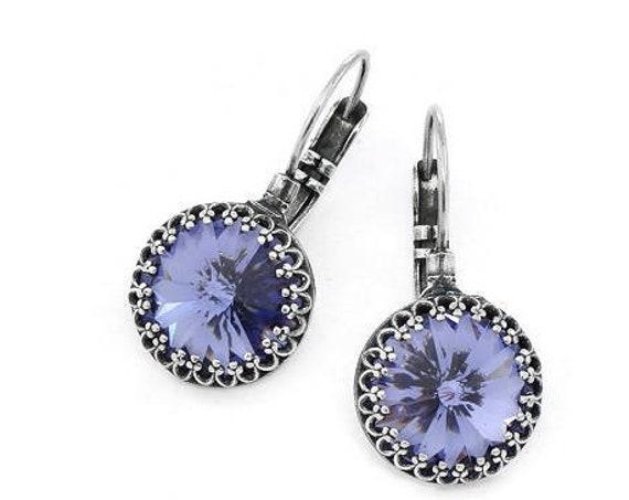 Tanzanite Rivoli Earrings w/ Swarovski Crystals 14mm • Art Nouveau Jewelry