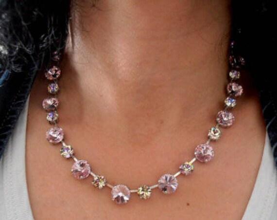 Cupchain Swarovski Crystal Tennis Necklace /  Rivoli Tennis Collet 12mm Jewelry