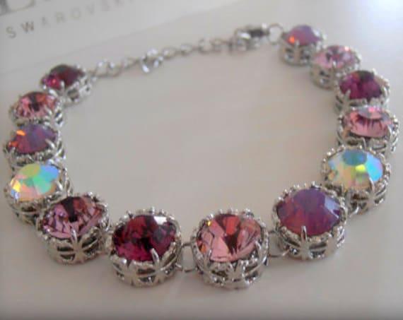Amethyst Purple Swarovski Bracelet / Art Deco Crystal Jewelry