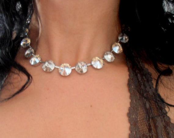 Anna Wintour Swarovski Crystal Necklace • Rivoli Cupchain Collet