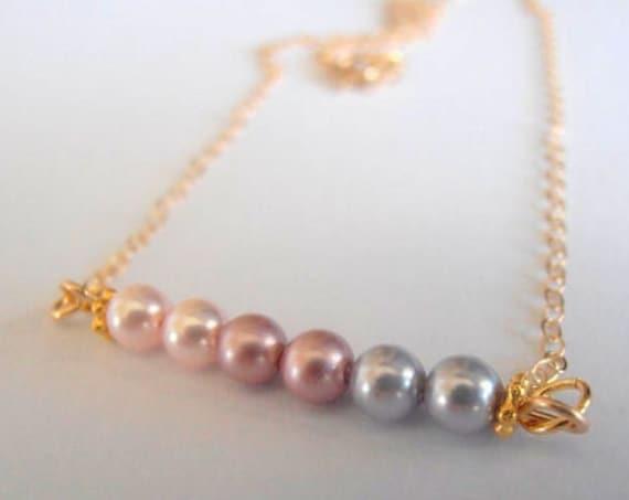 Pearl Ombre Gold fill Bar Pendant w/ Swarovski Beads