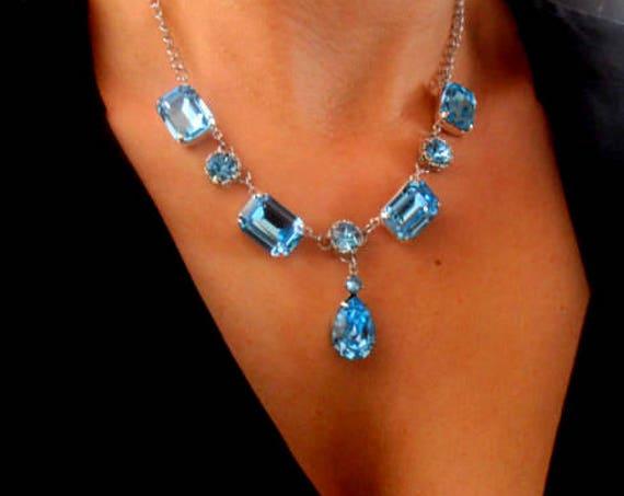 Georgian Swarovski Crystal Necklace • Long Aquamarine Statement Collet • Art Deco Necklace • Anniversary Present