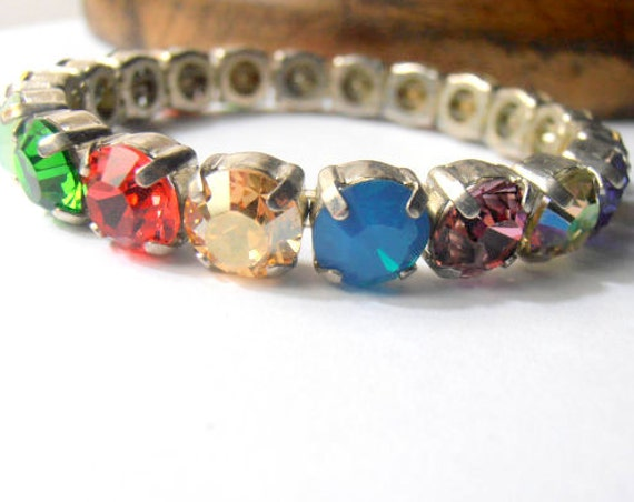 Multi-colors Crystal Stretch Bracelet w/ Swarovski Crystals
