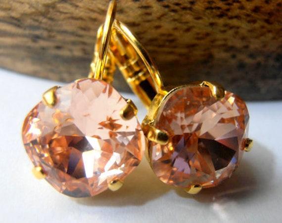Peach Rose Cushion Cut Earrings w/ Swarovski / Square Leverback Gold 4470 12mm