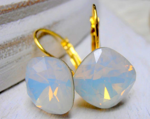 White Opal Cushion Cut Earrings w/ Swarovski Crystals • Bridesmaids Gold Bridal Wedding Jewelry For Her