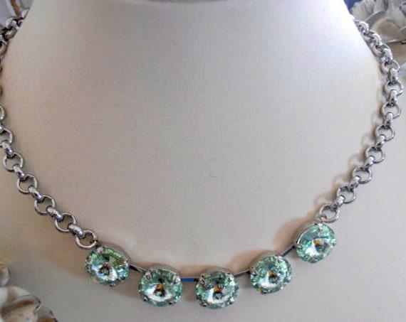Chrysolite Rivoli Chain Choker Necklace w/ Swarovski Crystals 1122