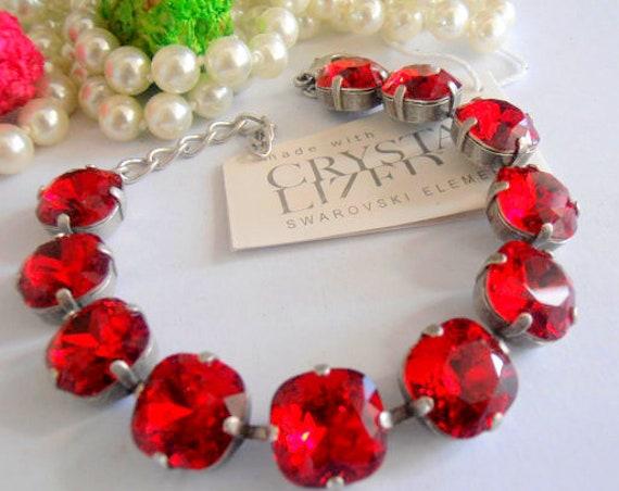 Red Cushion Cut Bracelet w/ Swarovski Crystals 4470 12mm Fashion Jewelry for Women
