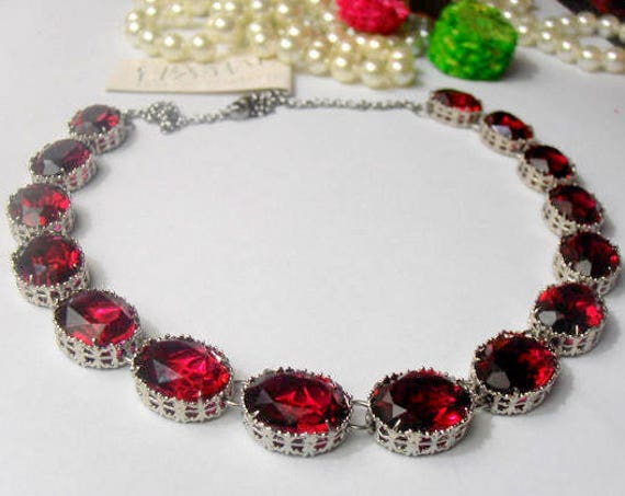 Anna Wintour Ruby Riviere Crystal Necklace made w/ Swarovski Crystals
