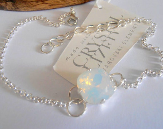 White Opal Summer Sandal Foot Anklet / Body Swarovski Beach Bare Foot Bracelet in Sterling Silver