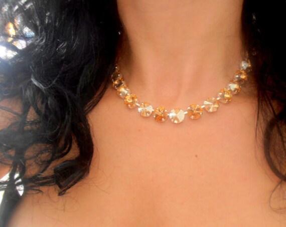 Gold Swarovski® Crystal Necklace • Anna  Wintour Handmade Choker