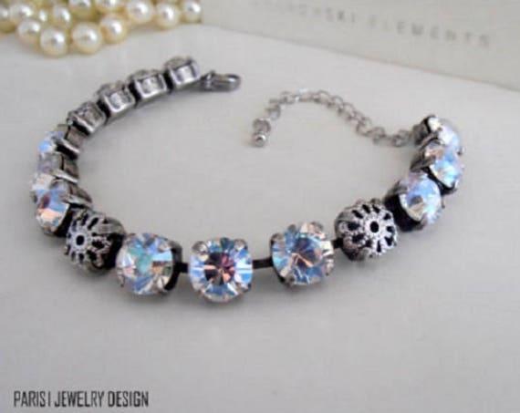 Moonlight Swarovski Cupchain Bracelet / 8mm Crystal Tennis Bracelet / Wedding Bracelet /