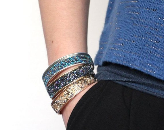Swarovski Crystal Rocks Bangles • Bohemian Layered Bracelet • Fashion Jewelry