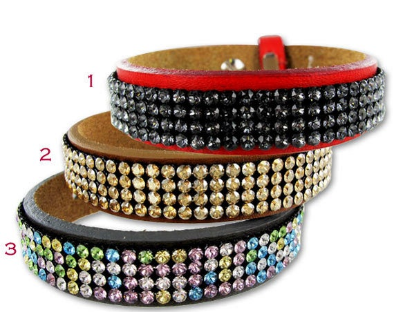 Swarovski Mesh Leather Wrap Bracelet • Crystal Layered Cuff