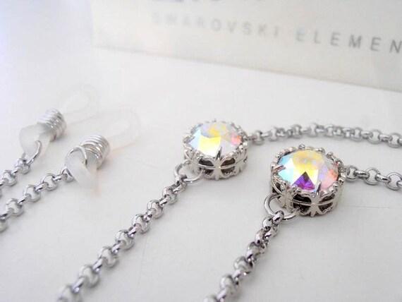 Aurora Borealis Eyeglass Chain Holder w/ Swarovski / Reading Lanyard