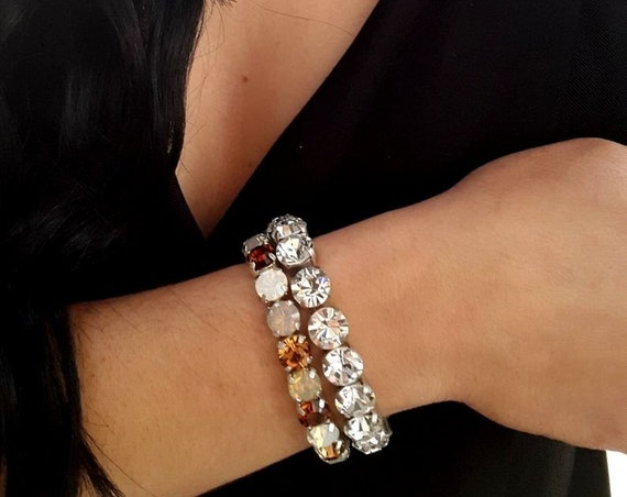 Brown Multicolors Swarovski Stretch Bracelet / Sew on Crystal Cuff