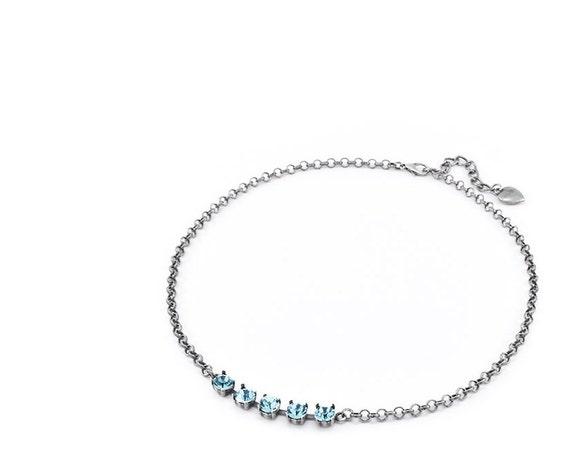 Aquamarine Necklace / Swarovski Necklace / Dainty Crystal Choker / March / Cupchain Tennis  / 6mm 1088 / Gift / Shabby Fashion Necklaces